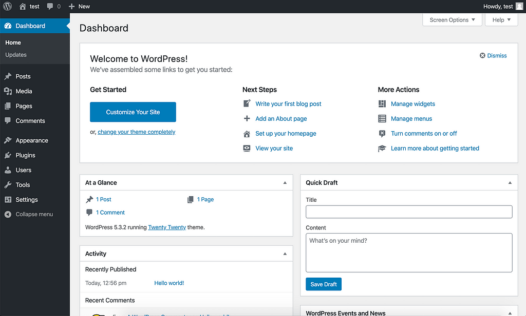 Content management systeem  Wordpress admin omgeving